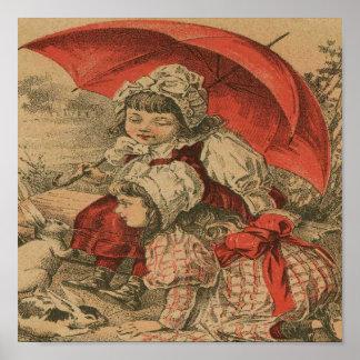 Vintage Victorian Girls Playing Art Print