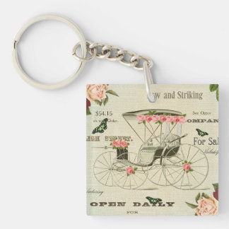 Vintage victorian girly keychain w/ flowers