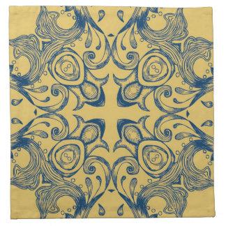 Vintage Victorian Gold and Blue Background Pattern Napkin