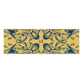 Vintage Victorian Gold and Blue Monogram Pattern Business Card Template