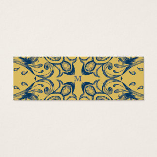 Vintage Victorian Gold and Blue Monogram Pattern Mini Business Card