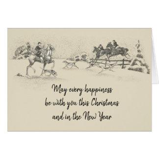 Vintage Victorian Happy Christmas Equestrian Beige Card