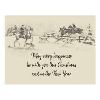 Vintage Victorian Happy Christmas Equestrian Beige Postcard
