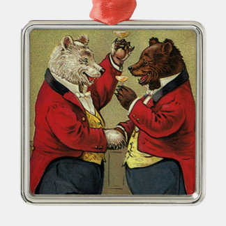 Vintage Victorian Happy, Gay, Dancing Bears Christmas Ornament