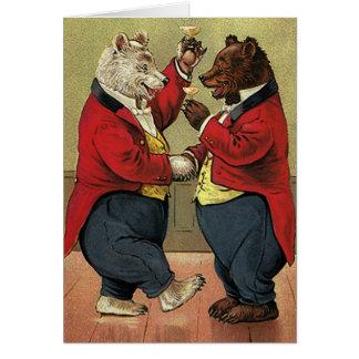 Vintage Victorian Happy, Gay, Dancing Bears Note Card