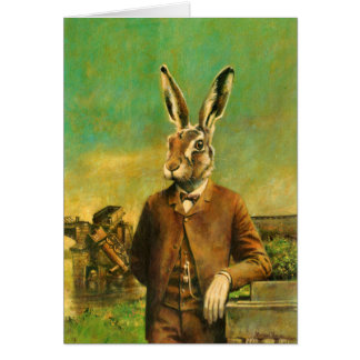 Vintage Victorian Hare In Suit Greeting Card