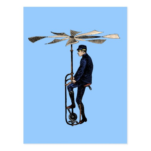 'Vintage Victorian Helicopter Flying Contraption Postcard