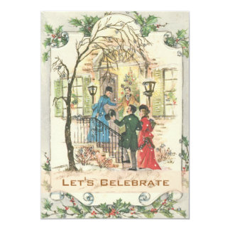 Vintage Victorian Holiday Christmas Party 13 Cm X 18 Cm Invitation Card