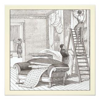Vintage Victorian Housewarming / Open House 13 Cm X 13 Cm Square Invitation Card