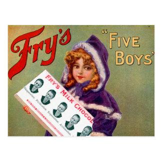 Vintage Victorian Kitsch Fry's Milk Chocolate Girl Postcard