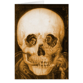 Vintage Victorian Kitsch Skull Optical Illusion Card