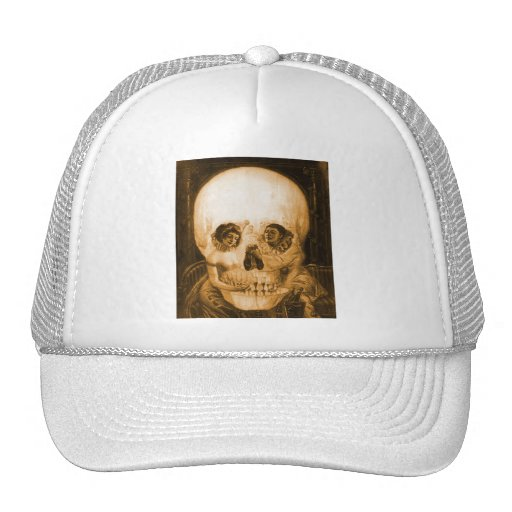 Vintage Victorian Kitsch Skull Optical Illusion Hat