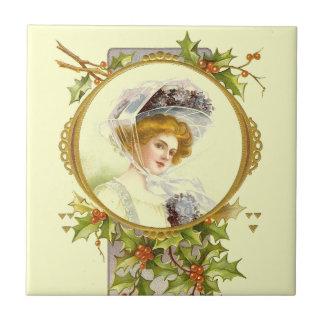 Vintage Victorian Lady Christmas Ceramic Tile
