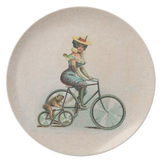 Vintage Victorian Lady Dog Bicycle Plate