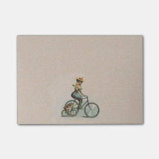 Vintage Victorian Lady Dog Bicycle Post-it Notes
