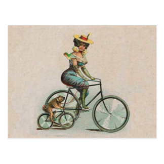 Vintage Victorian Lady Dog Bicycle Postcard
