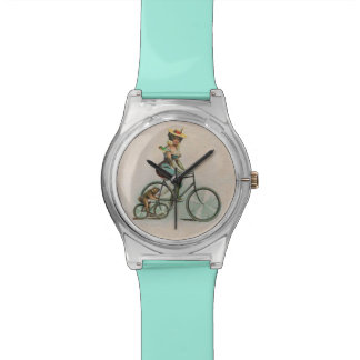 Vintage Victorian Lady Dog Bicycle Wrist Watch