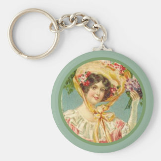 Vintage Victorian Lady Easter Bonnet Basic Round Button Key Ring
