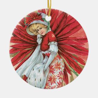 Vintage Victorian Lady Red Poinsettia Round Ceramic Decoration