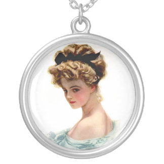 Vintage Victorian Lady Sterling Silver Necklace