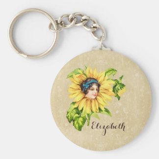 Vintage Victorian Lady Summer Sunflower With Name Basic Round Button Key Ring