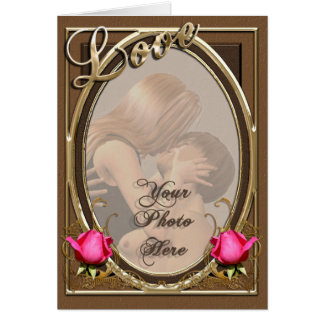 Vintage Victorian Love Leather Rose Photo Frame Card