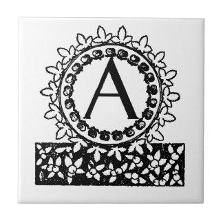 Vintage Victorian Monogram Letter A Small Square Tile