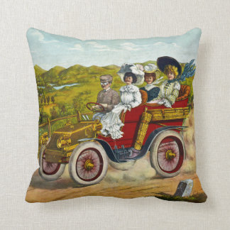 Vintage Victorian Motorist and Ladies in Car Throw Pillow
