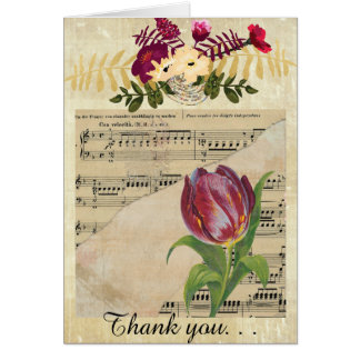 Vintage Victorian Music Romance Tulip GreetingCard Greeting Card