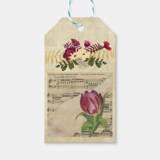 Vintage Victorian Music Romance Tulips Gift Tag