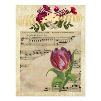 Vintage Victorian Music Romance Tulips Postcard