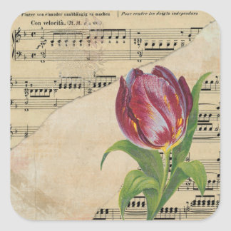 Vintage Victorian Music Romance Tulips Stickers