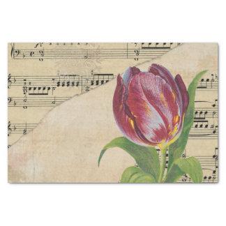 "Vintage Victorian Music Romance Tulips TissuePaper 10"" X 15"" Tissue Paper"