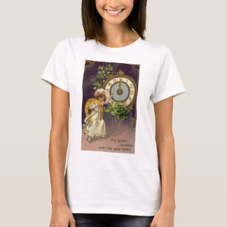Vintage Victorian New Years Eve, Clock at Midnight T-Shirt