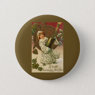 Vintage Victorian New Years Eve Girl and Champagne 6 Cm Round Badge