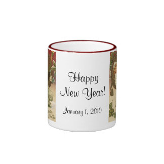Vintage Victorian New Years Eve Girl and Champagne Ringer Mug