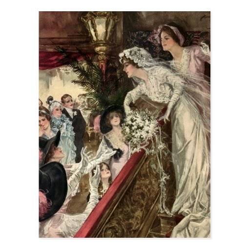 Vintage Victorian Newlywed Bride Tossing Bouquet Postcards