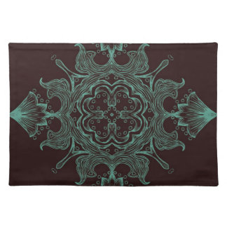 Vintage Victorian Ornament Teal & Brown Background Placemat