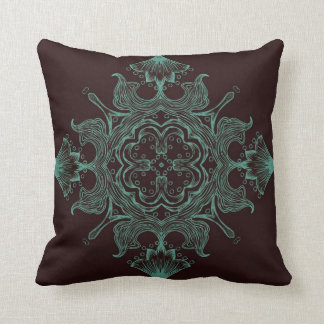 Vintage Victorian Ornament Teal & Brown Background Throw Pillow