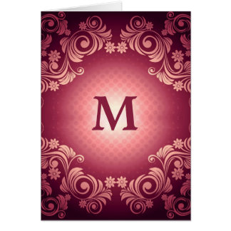 Vintage Victorian Pattern with Monogram Note Card