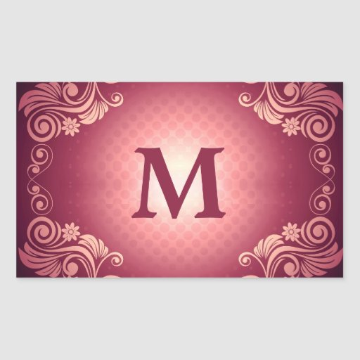 Vintage Victorian Pattern with Monogram Rectangle Sticker