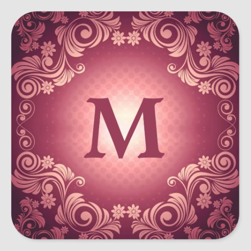 Vintage Victorian Pattern with Monogram Square Stickers
