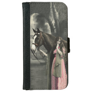 Vintage Victorian Photograph Lady Pink Dress Horse iPhone 6 Wallet Case
