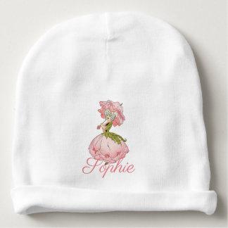 Vintage/Victorian Pink Flower Fairy Personnalised Baby Beanie
