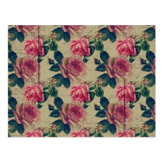 Vintage Victorian Pink Flowers Postcard