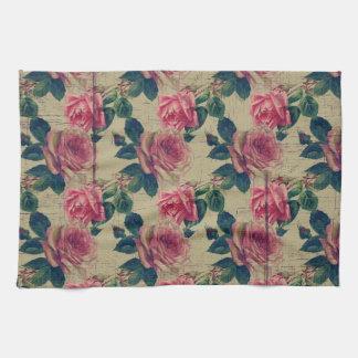 Vintage Victorian Pink Flowers Tea Towel