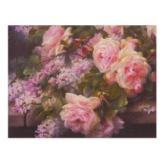 Vintage Victorian Pink Roses and Lilacs Postcard