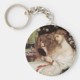 Vintage Victorian Portait, Lady Lilith by Rossetti Basic Round Button Key Ring