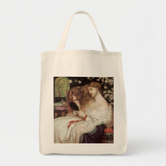 Vintage Victorian Portait, Lady Lilith by Rossetti Grocery Tote Bag