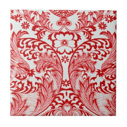 Vintage Victorian Red Ceramic Tile